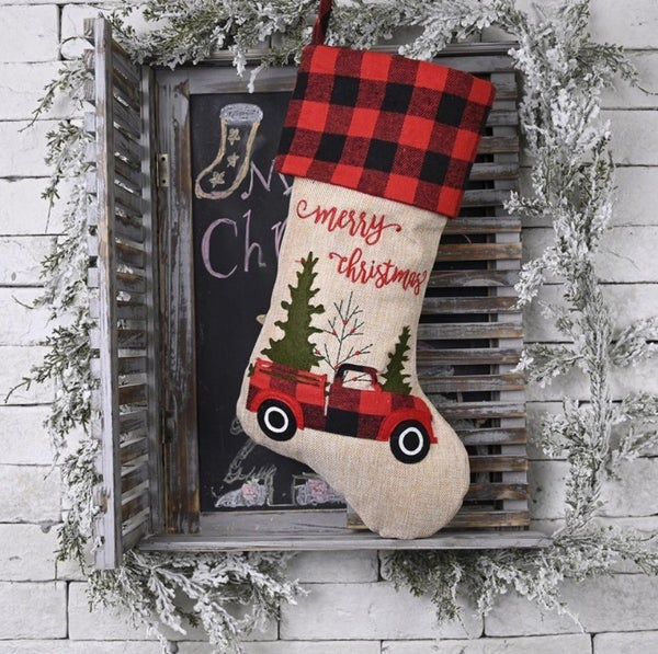Holiday Red Truck Stocking