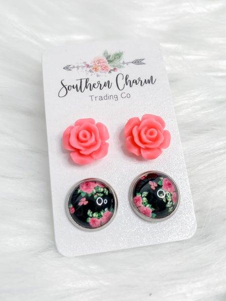 Hot Pink Roses & Hot Pink Roses On Black