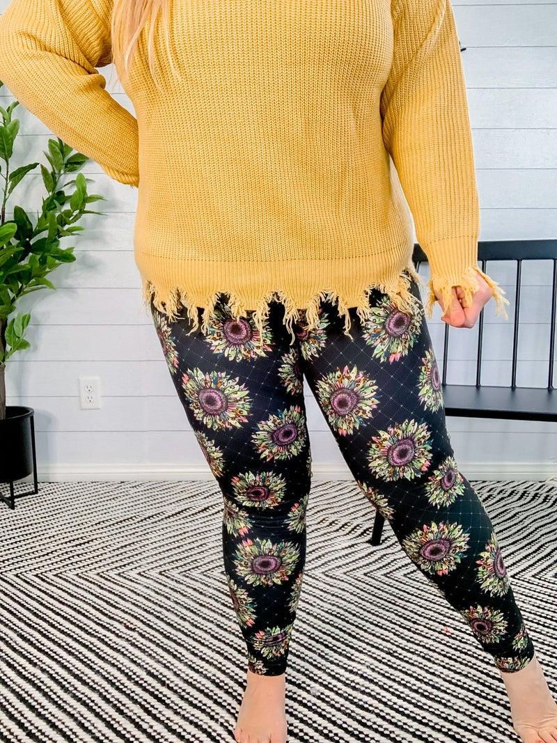 PLUS/REG/KIDS Wild Leopard Sunflower Leggings