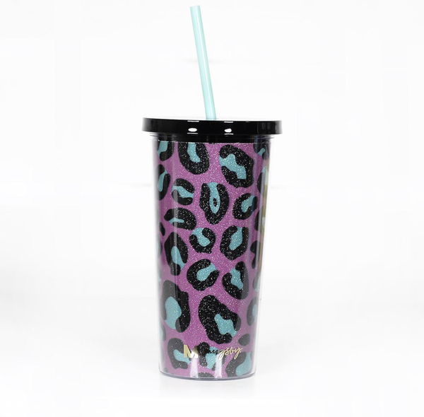 Pink and Teal Leopard Glitter Tumbler with Straw