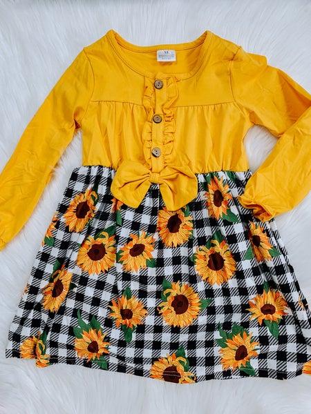 KIDS Golden Sunflower Dress With Black & White Buffalo Plaid Skirt