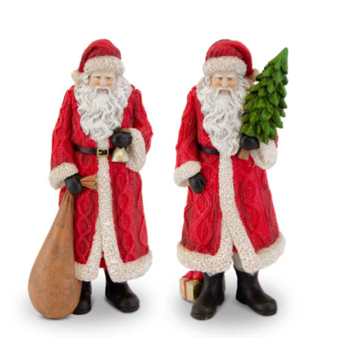Traditional Santa w/Red Cable Knit Coat (2 Styles)