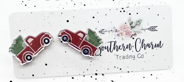 Vintage Christmas Truck Earrings