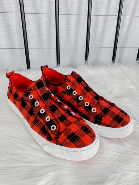 Red Plaid Slip On Shoes