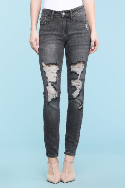 PLUS/REG Judy Blue Grey Mid-Rise Destroyed Skinny