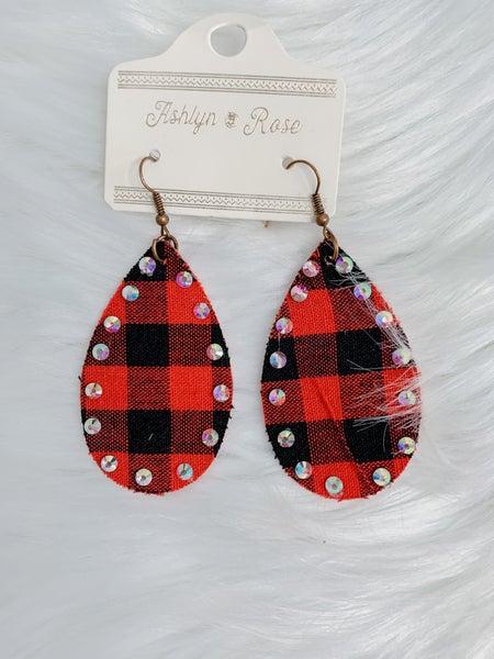 Plaid Teardrop Earrings with Crystals