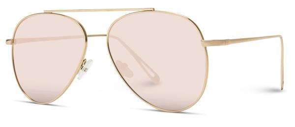 Womens Oversized Aviator Gold Frame Pink Lens