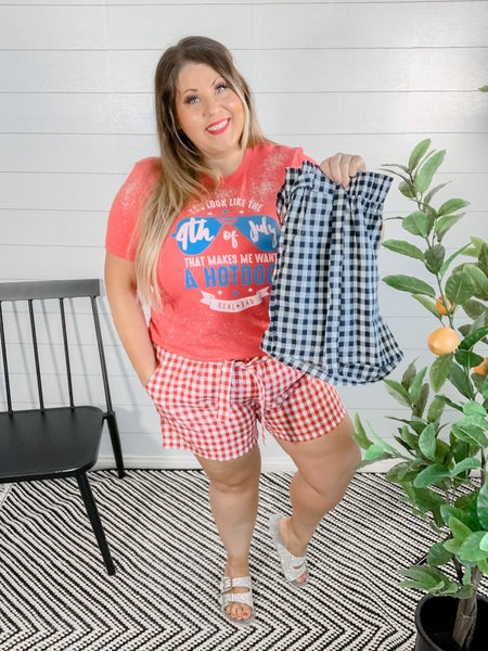 Picnic Chic Gingham Shorts with Waist Tie