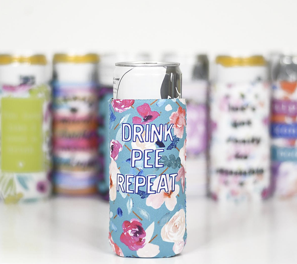 Drink Pee Repeat Slim Can Cooler
