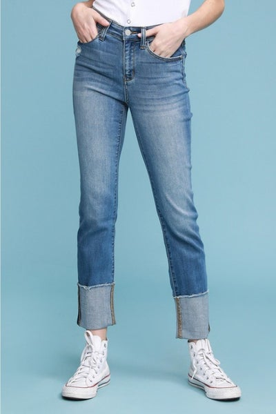 PLUS/REG Judy Blue Straight Leg Cuffed Jeans