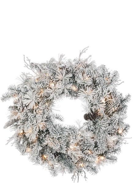 Flocked Pine with Cones Wreath
