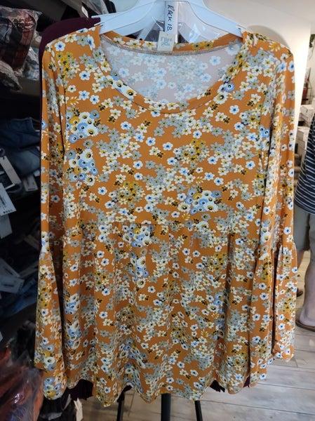 PLUS/REG Marigold Floral Bell Sleeve Babydoll