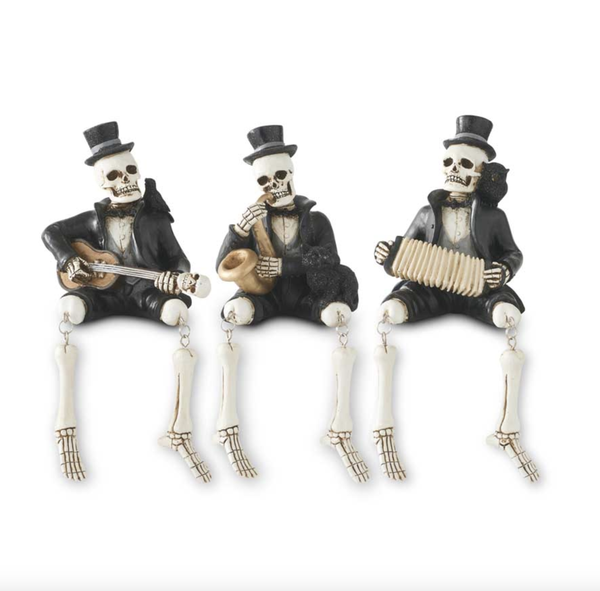Assorted 8.75 Inch Resin Skeleton Musicians (3 Styles)