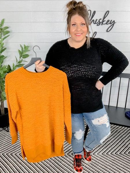 PLUS/REG Popcorn Knit Sweater with Ribbing