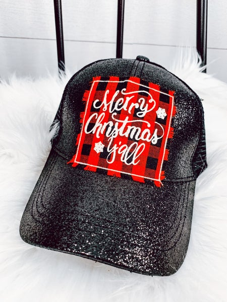 Merry Christmas Y'all Plaid Black Glitter High Ponytail Hat *FINAL SALE*