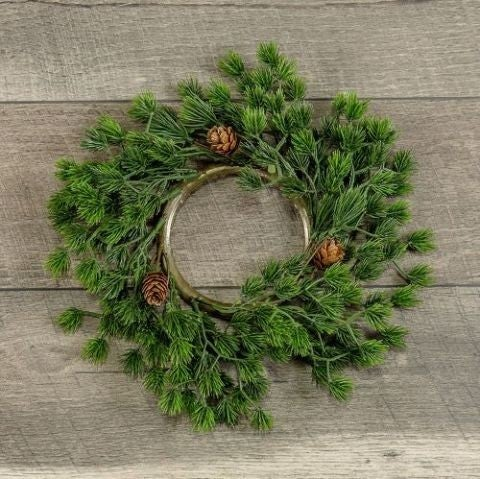 "12"" Cluster Pine Candle Ring"