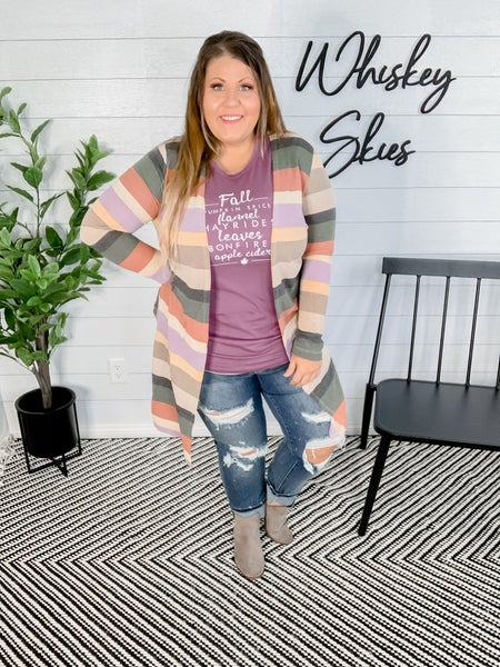 PLUS/REG: Long Sleeve Multi Colored Striped Knit Cardigan