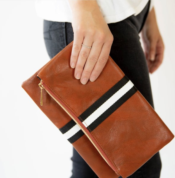 Leather Stripe Fold Over Clutch