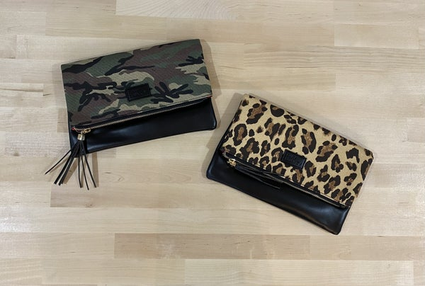 Leather Print Fold Over Clutch