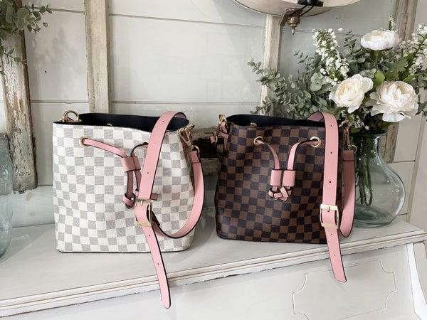 Checkered London Bucket Bag
