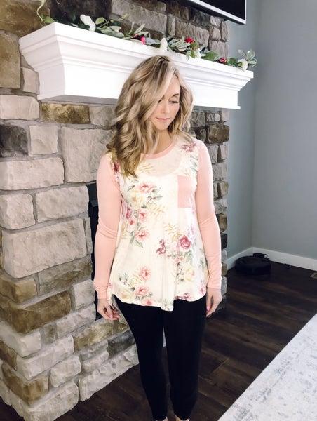 Peach Sleeve Floral Pocket Top
