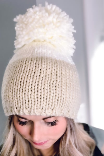 White and Cream Cable Knit Hat