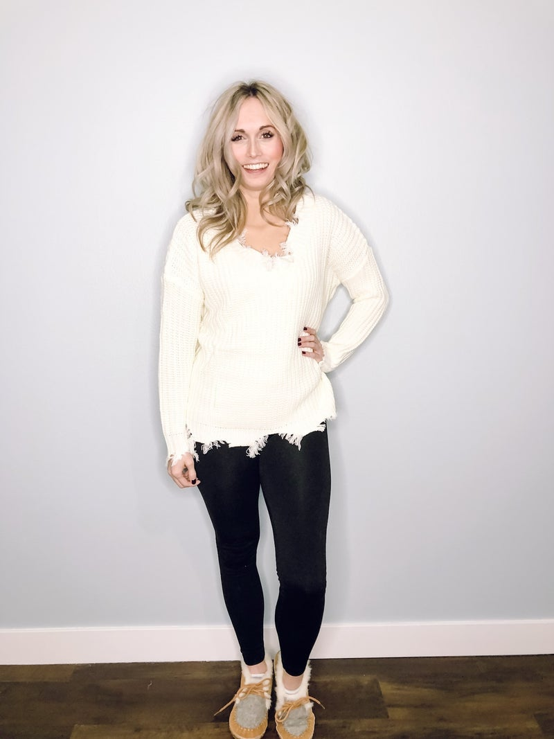 Ivory Distressed Sweater