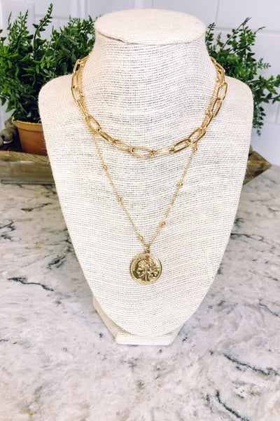 Chain and Coin Layered Necklace