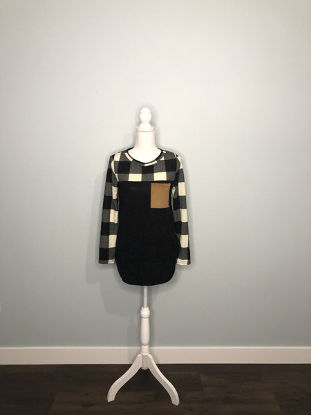 Plaid Sleeves Front Pocket Sweater