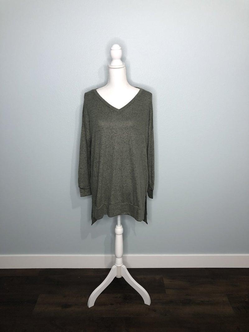 Olive Brush V-Neck Sweater