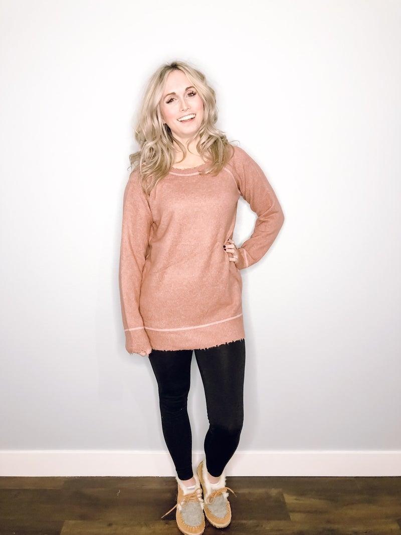 Mauve Distressed Sweater