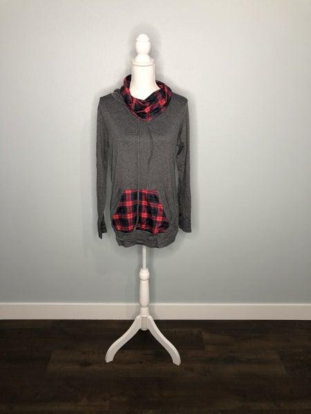 Plaid Cowl Sweatshirt
