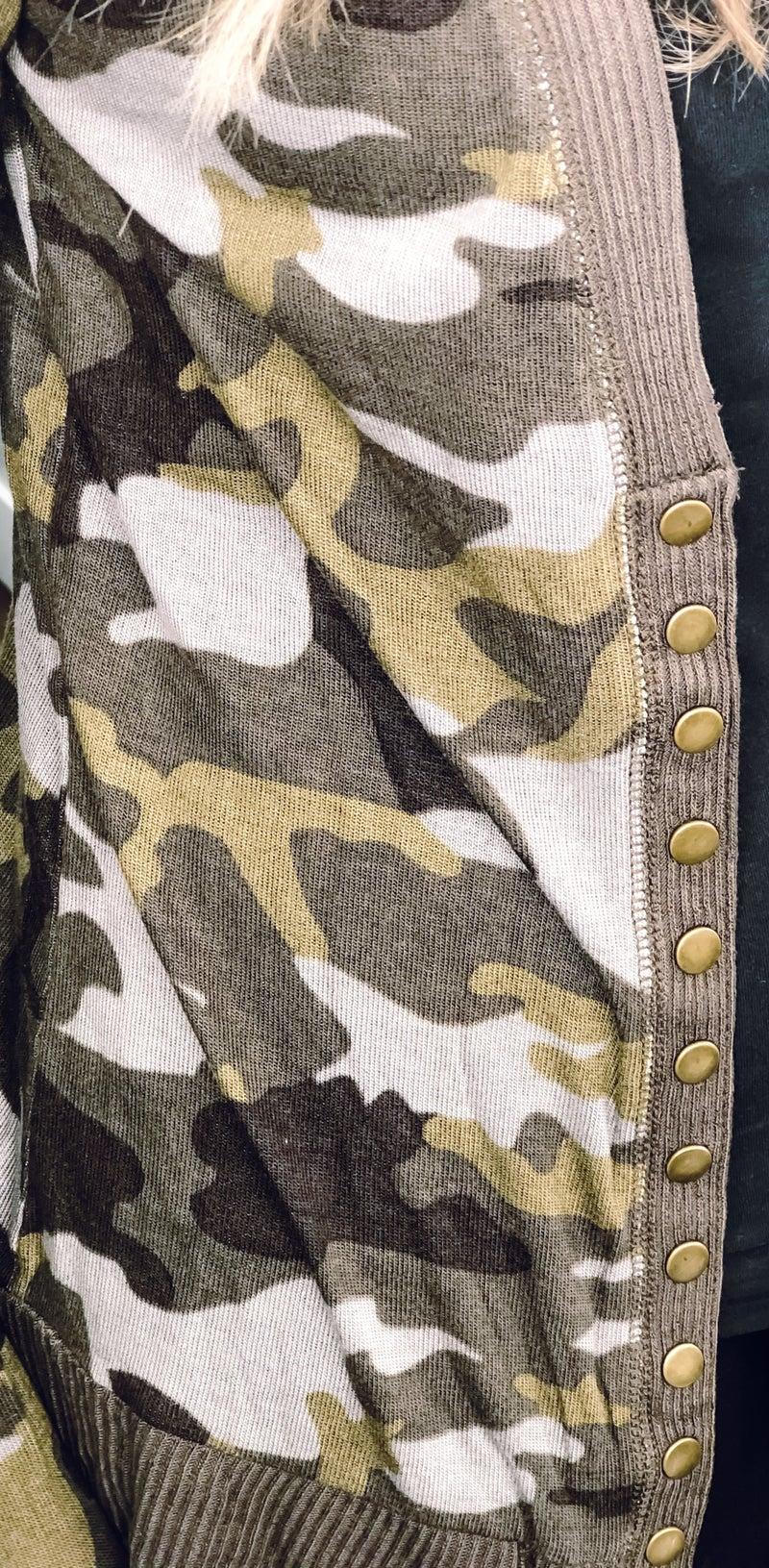 Camo Snap Button Cardigan