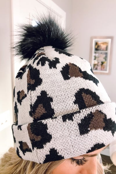 Printed Cable Knit Hat