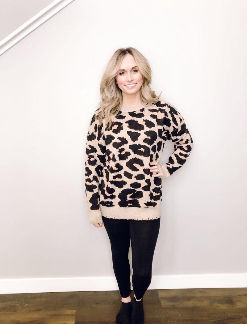 Frayed Leopard Sweater