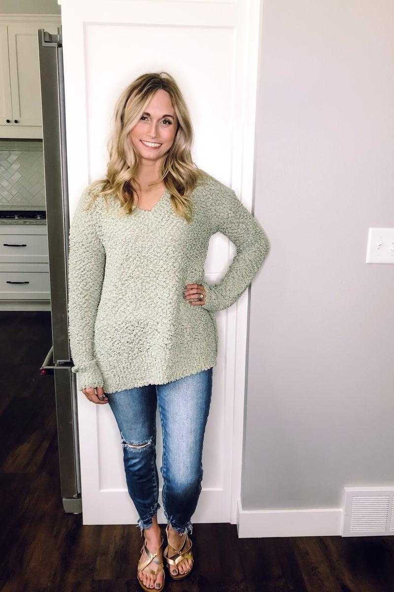 Sage Popcorn Sweater