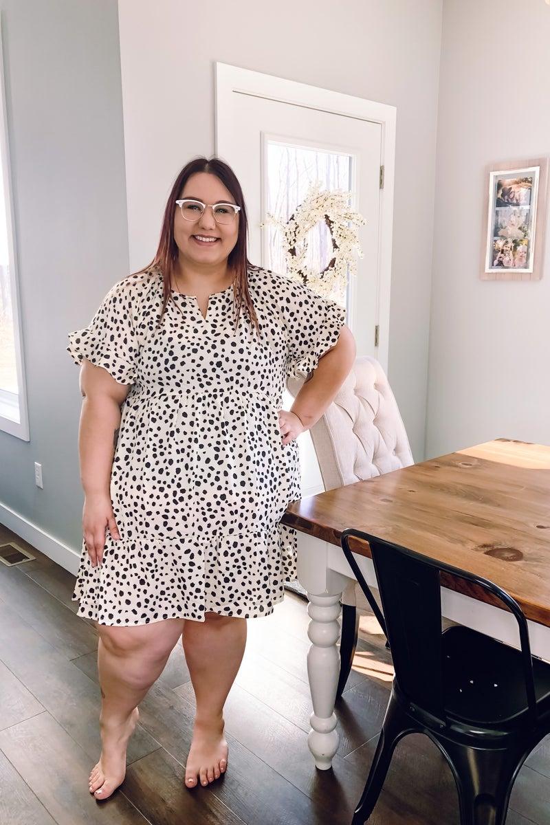 Cream Dot Dress