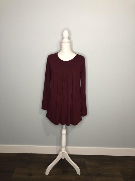 Burgundy Pleated Long Sleeve Top