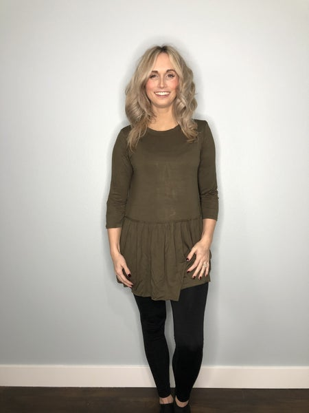 Olive 3/4 sleeve top  empire bottom
