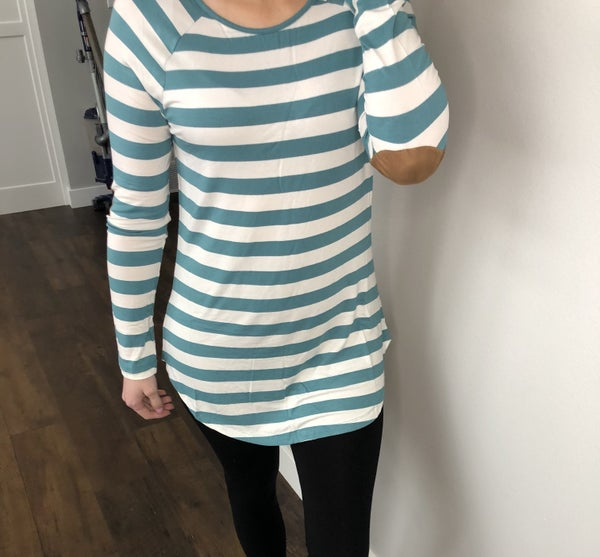 Teal Striped Elbow Pad Top