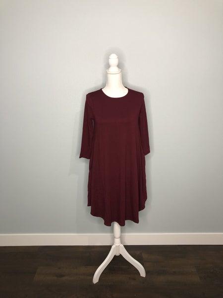 Burgundy 3/4 SLEEVE ROUND HEM A-LINE DRESS WITH SIDE POCKET