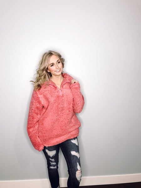 Rose Sherpa Pullover