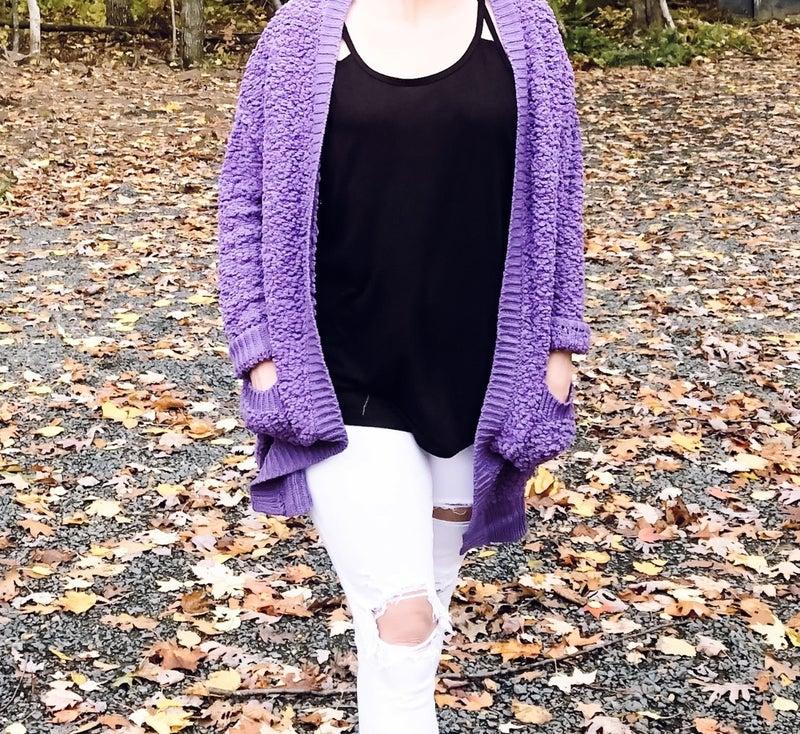 Lilac Grey Long Sleeve Popcorn Cardigan