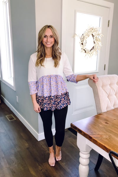 Floral Lilac Knit Top