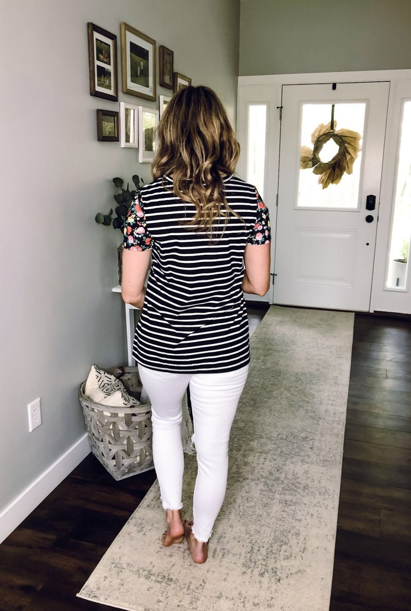 Stripes and Flowers Top