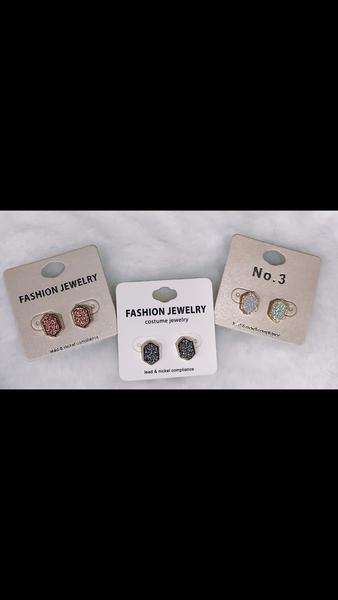 Gem Hexagon Earrings