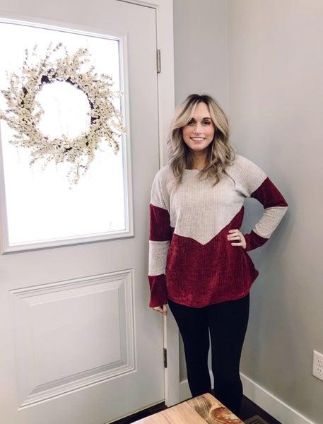 Burgundy Velvet Sweater
