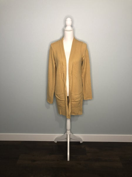 Camel Open Front Cardigan With Pockets