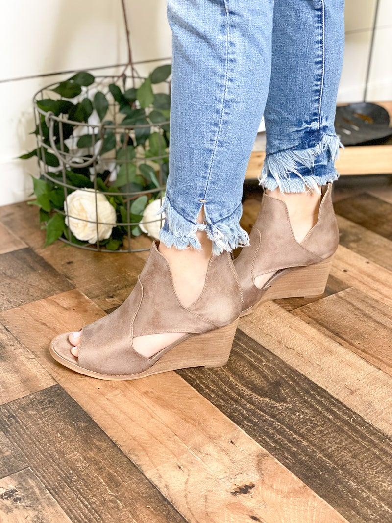 Pewter Open Toe Wedges