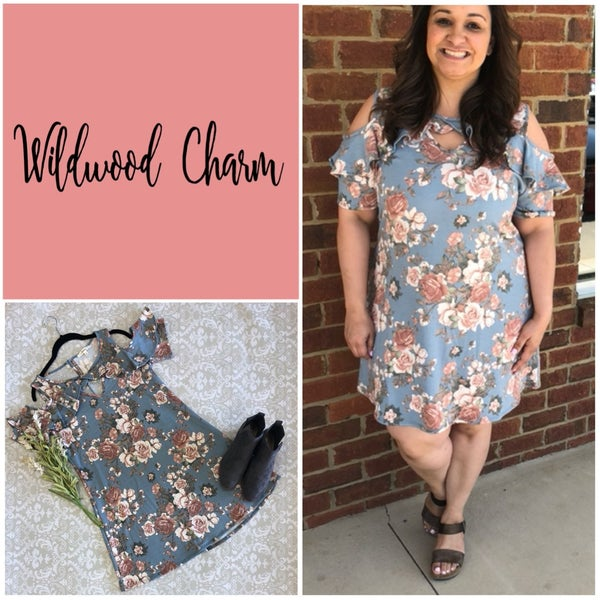 Floral Cold Shoulder with Ruffles